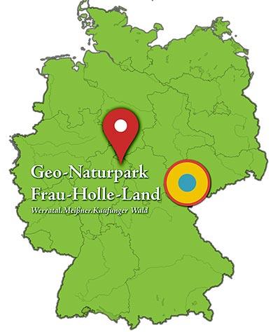 Deutschlandkarte mit Regionsbestimmung. Das Bild wurde freundlichst zur Verfügung gestellt vom Geo-Naturpark Frau-Holle-Land.