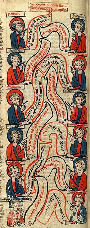 illustrierte Bibel, 13Jhdt.: die 12 Apostel mit den 12 Artikeln des Glaubensbekenntnisses