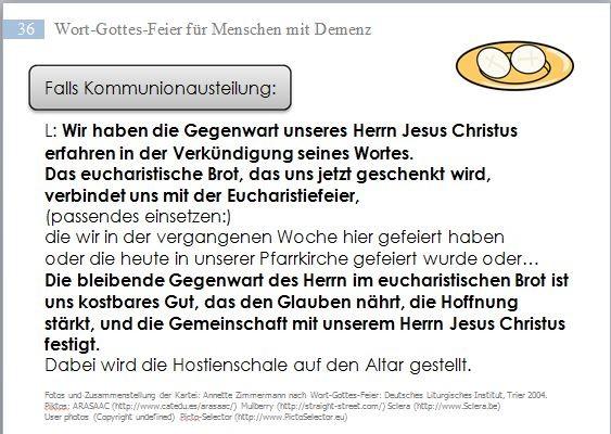 Wort-Gottes-Feier für Menschen mit Demenz