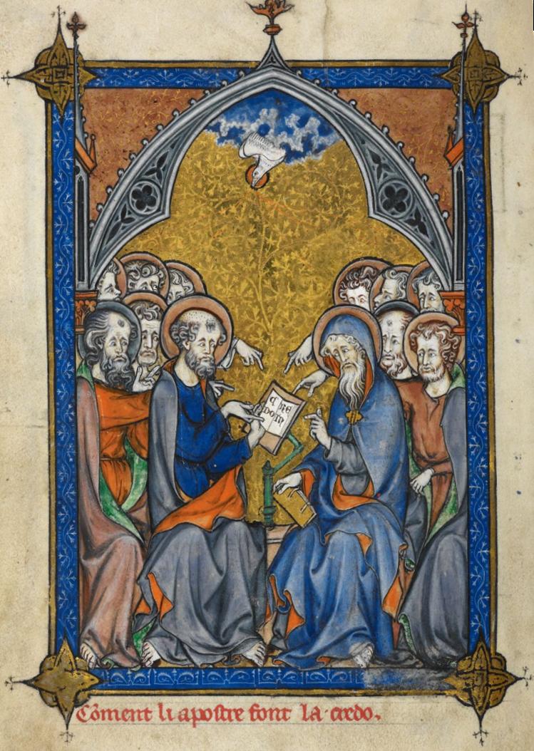 Der Heilige Geist inspiriert die Apostel beim Erstellen des Glaubenbekenntnisses.