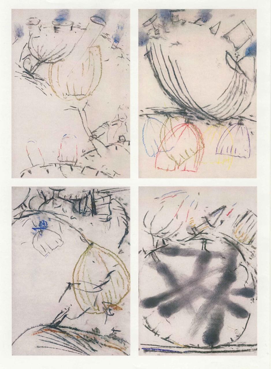 Nebensachen, 4 Arbeiten, Mischtechnik auf Papier, 2000