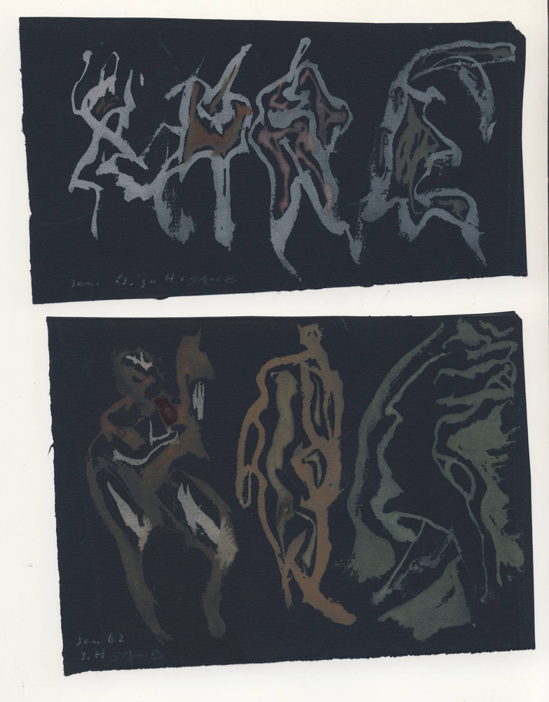 Deformationen Pinselzeichnung auf schwarzem Tonpapier 1962