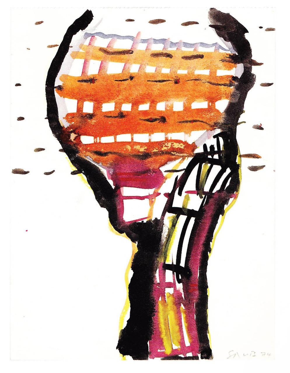 Klopfzeichen, 1974, Deckfarbe/Papier, 19,8x14,8 cm