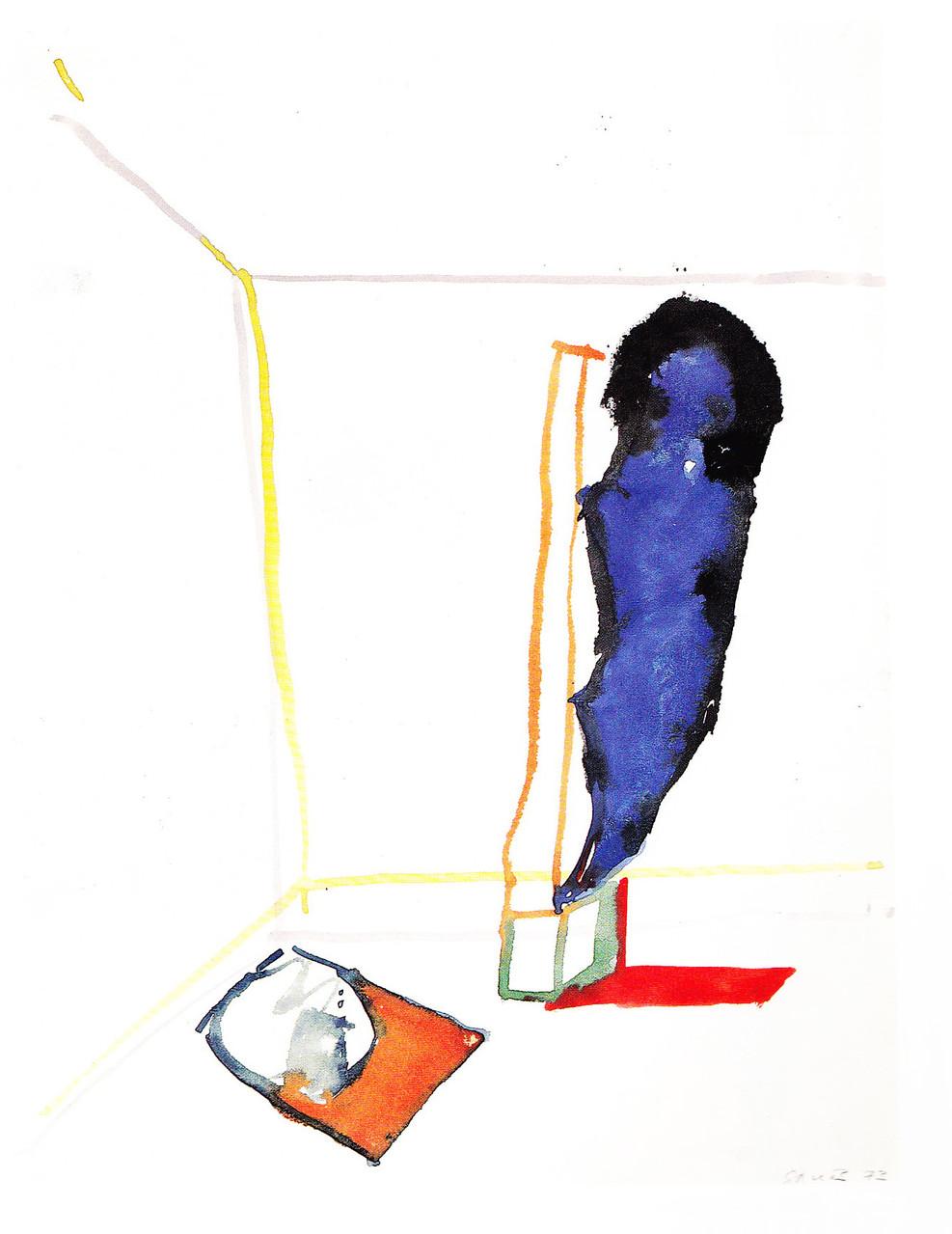 Schattensegel, 1973, Aquarell/Papier, 32x24,3 cm