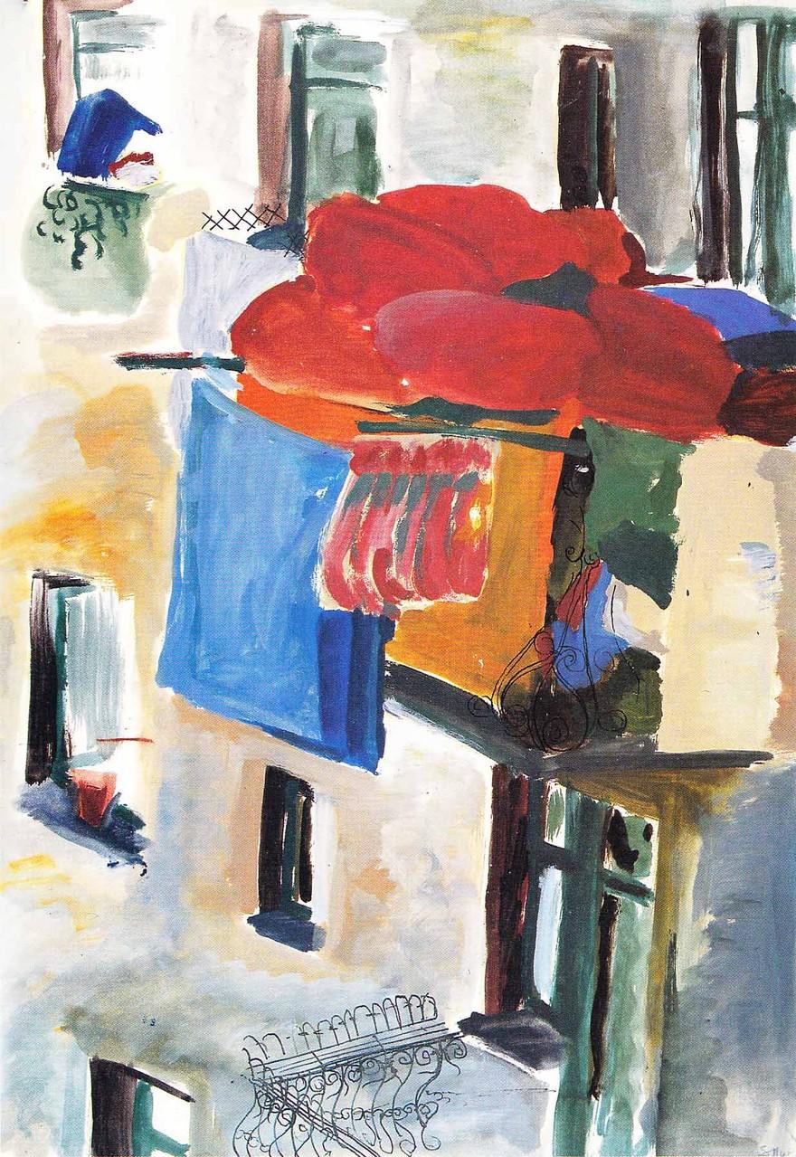 Hinterhof, 1961, Öl/Papier, 61x42,8 cm