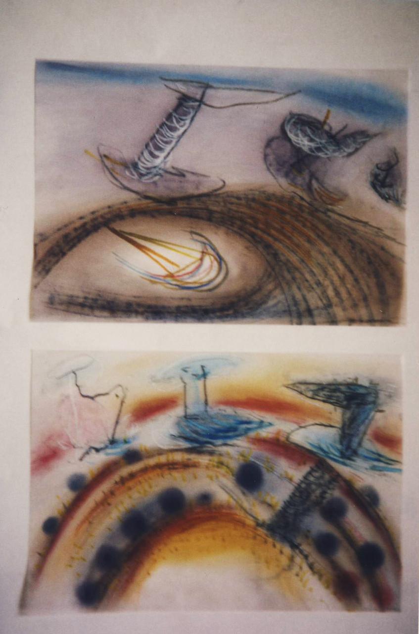 Membranen, Mischtechnik auf Transparentpapier, 1997