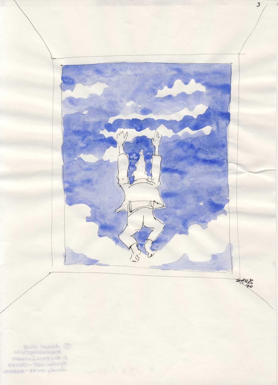Die Deutschen haben auch die besten Wolken, colorierteZeichnung 3, 1970