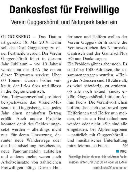 "Artikel ""Der Sensetaler"", Ausgabe Februar 2019"
