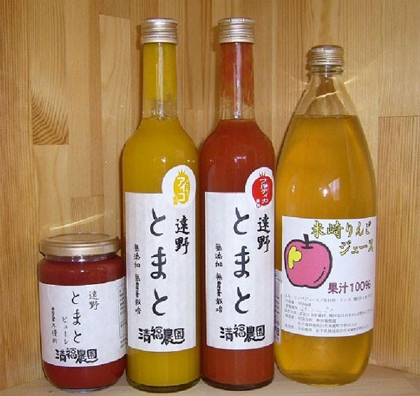 トマトピューレ・トマト100%ジュース・りんご100%ジュース