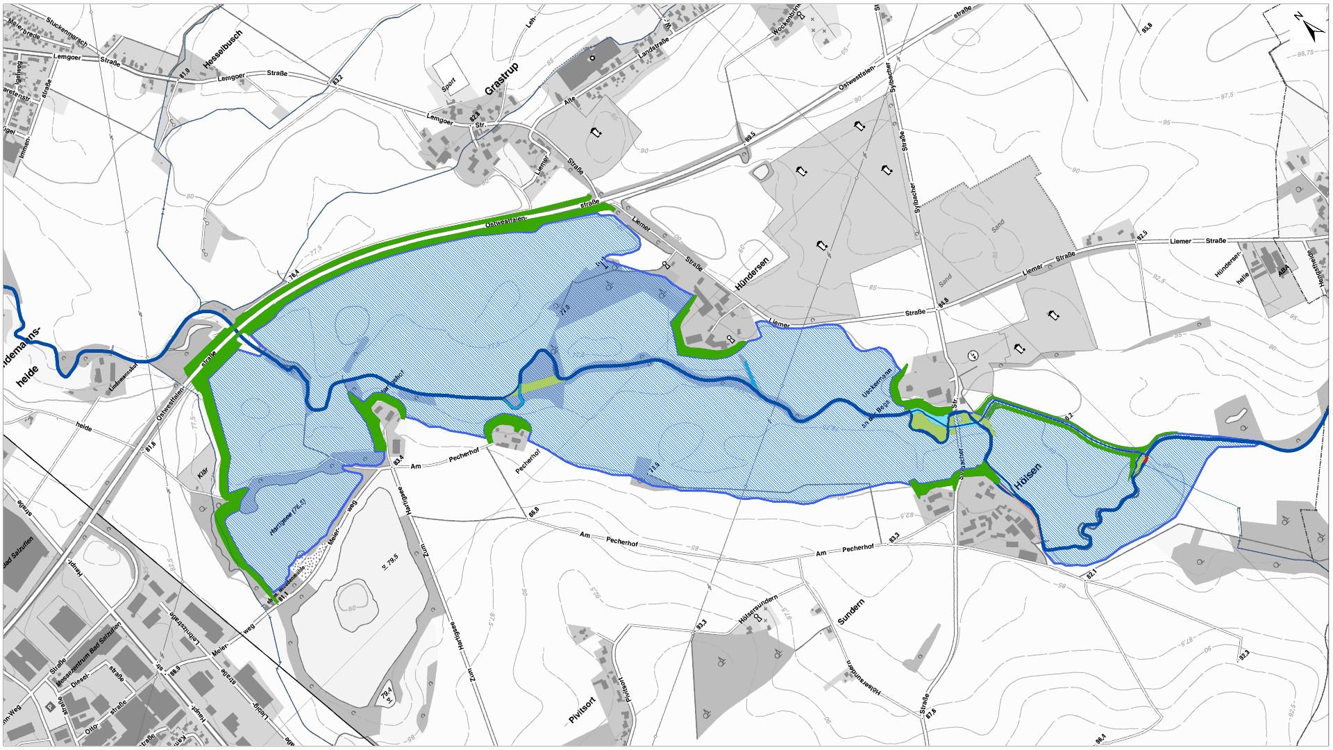Übersichtslageplan mit Einstaufläche (blau) und Deichanlagen (grün)