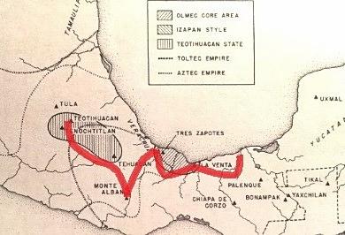Reiseroute von Villahermosa (Tabasco), La Venta, ins Herzland von Olman, San Lorenzo, Tres Zapotes, hinauf aufs Hochland von Oaxaca, dann bis nach Teotihuacan.