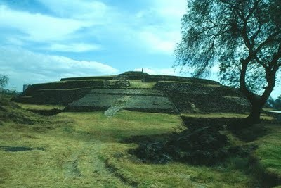 Cuicuilco, a very rare round pyramid, in the south of Mexico City