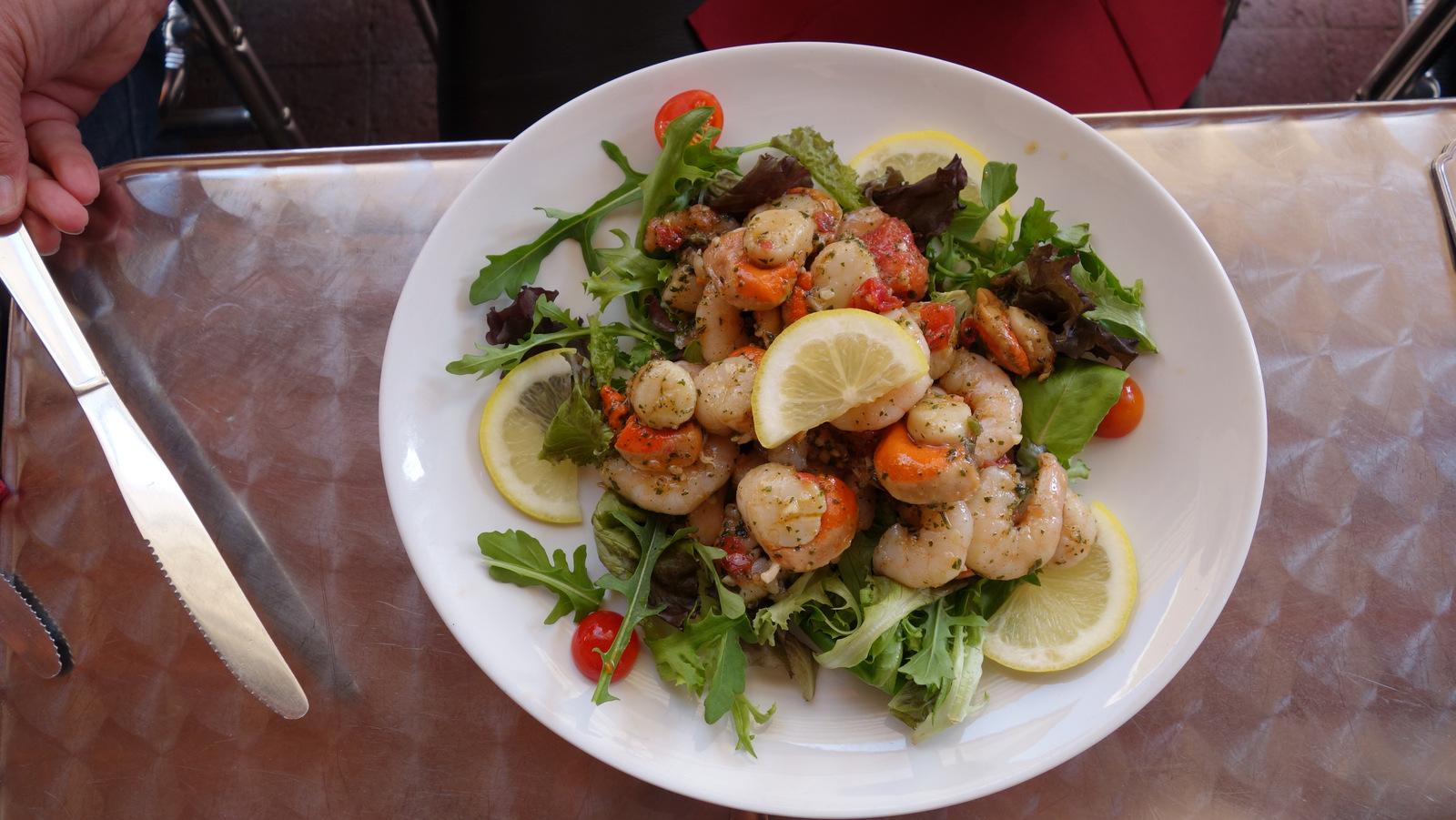 salade de St Jacques et crevettes