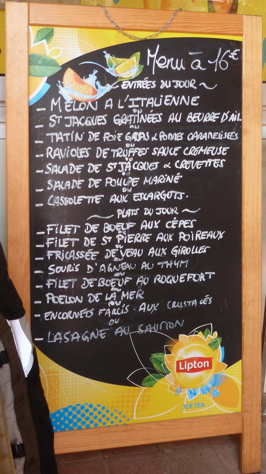 voici le menu ...
