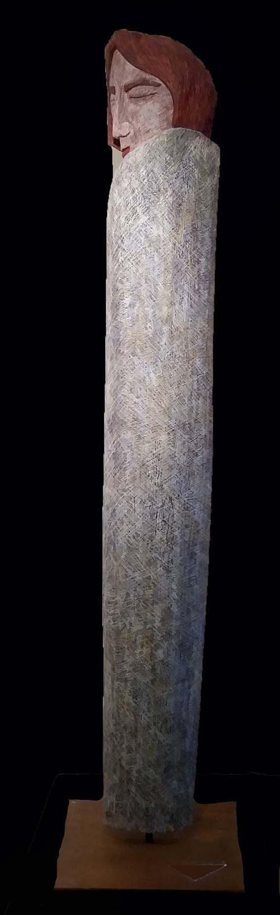 Karyatide - ruhende Säulenfrau, Eiche Farbstift 175 cm