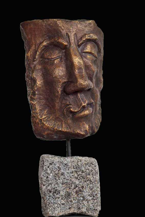 Bronzekopf incl. Stein 38 cm