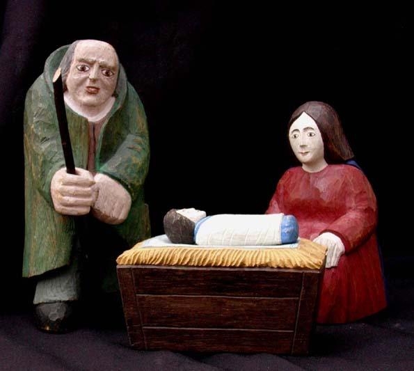 Hl. Familie gefaßt,  Eiche, Bildhauerarbeit 21 cm