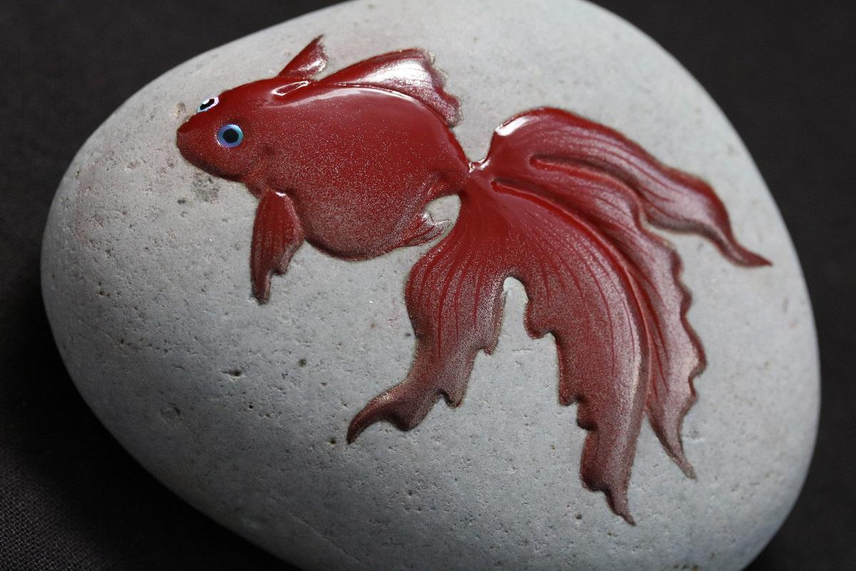 能登自然石蒔絵   金魚