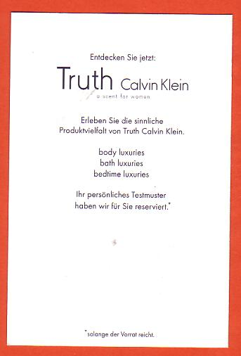 TRUTH WOMAN - CARTE ALLEMANDE : VERSO