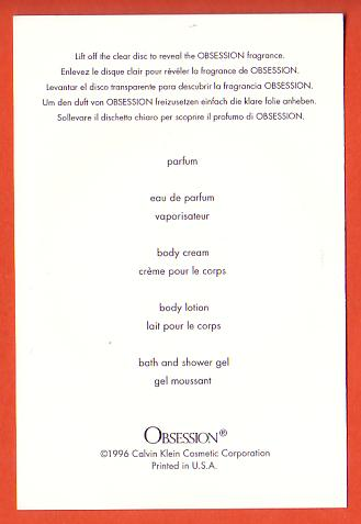 OBSESSION - VERSO