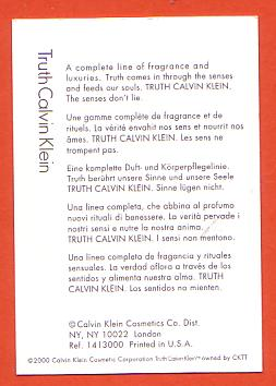 TRUTH WOMAN - CARTE ANGLAISE : VERSO