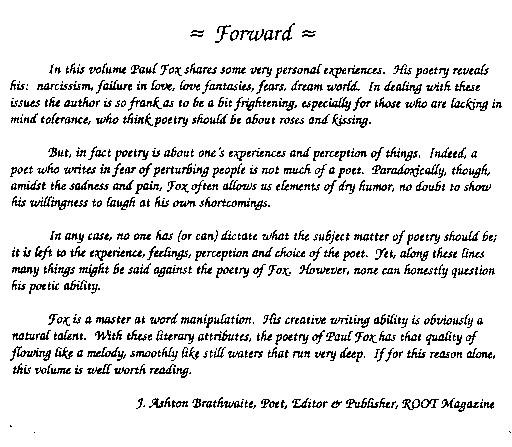 POETRY COLLECTION & WORDS of WISDOM - Website of jpaulfox!