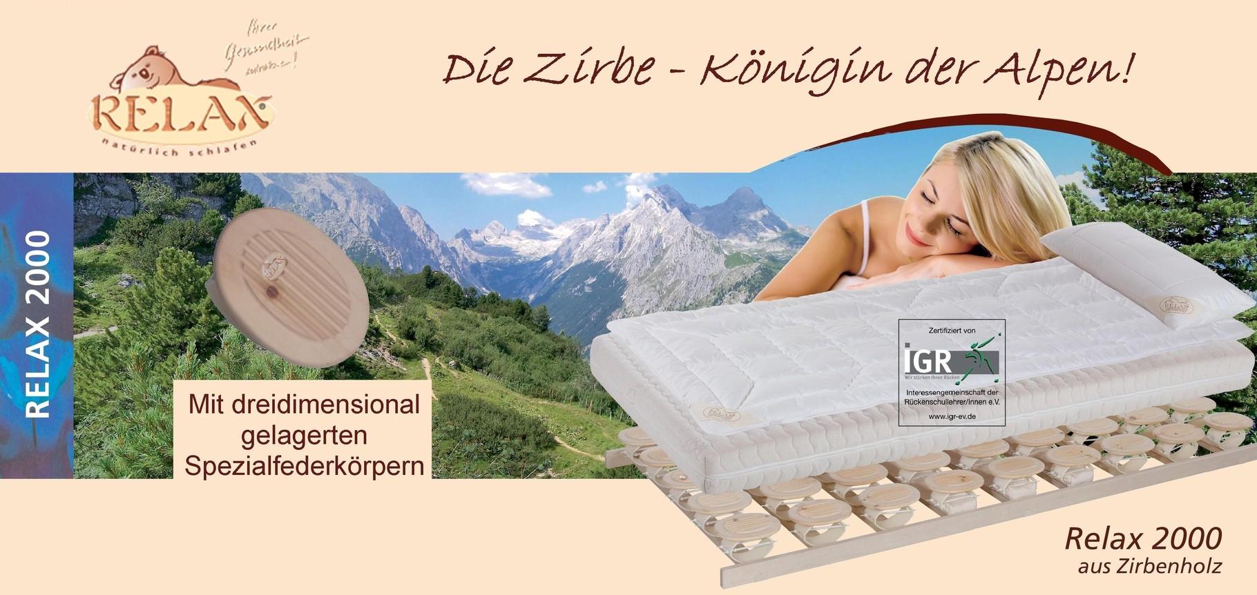 relax bettsysteme relax 2000 bettsystem zirbenkissen. Black Bedroom Furniture Sets. Home Design Ideas