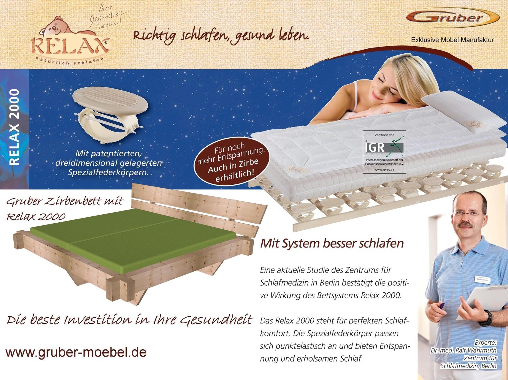 Zirbenbett München mit Bettsystem Relax 2000