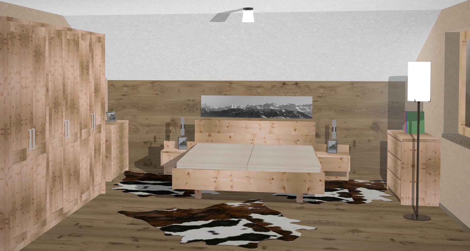 zirbenbett, arvenbett, zirbenholz, zirbenholz schlafzimmer, Schlafzimmer entwurf