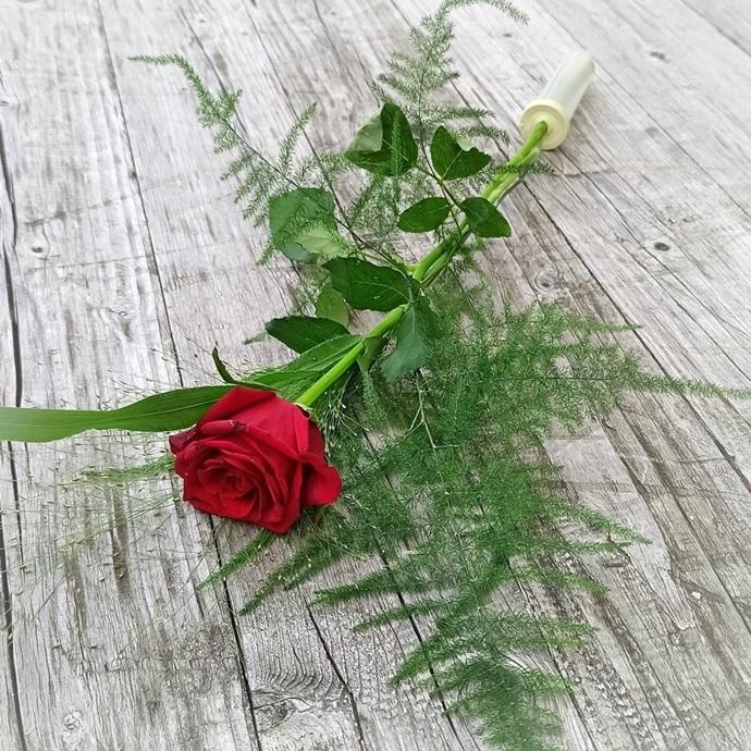 F07: Rose mit Grün - € 5,-