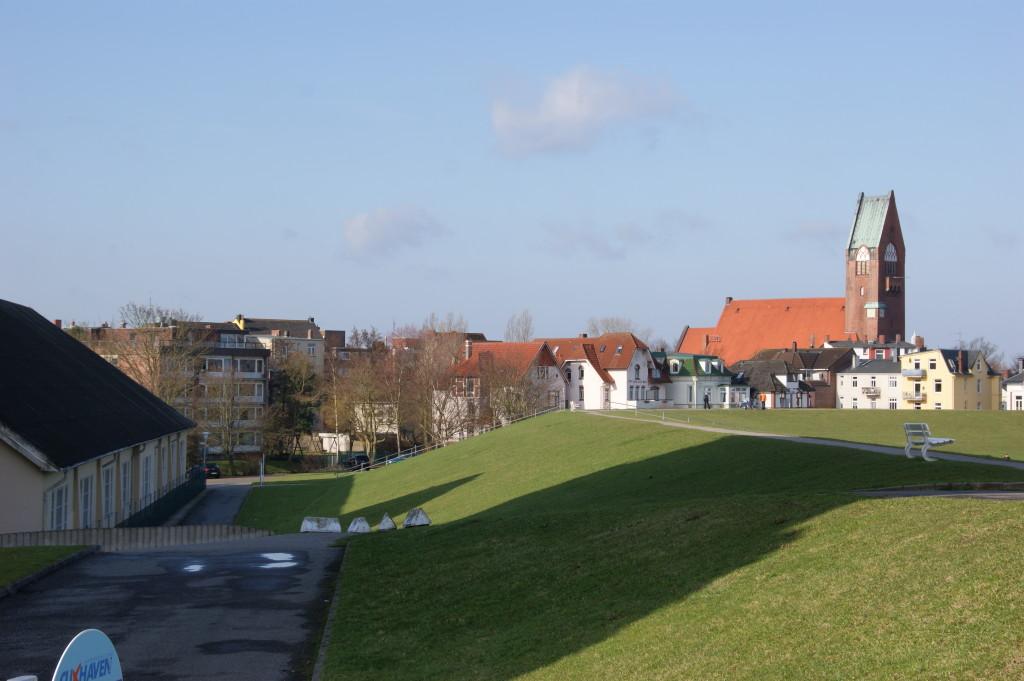 Der Deich von den Seeterrassen aus mit St.Petri und den Häusern der Gründerzeit