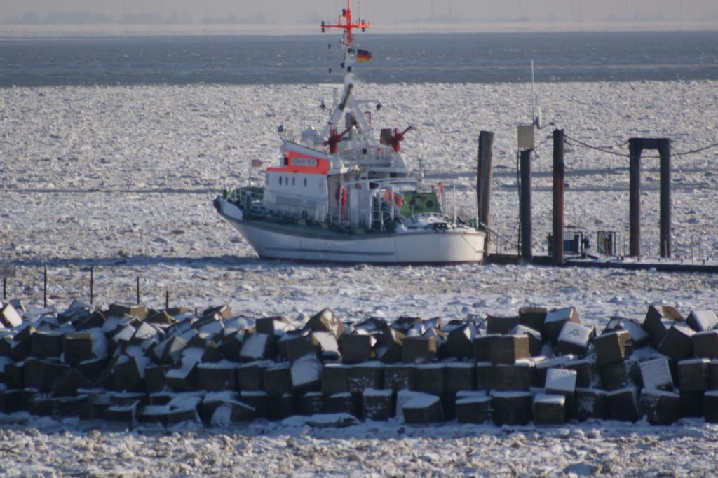 Seenotretter im Eis des Fährhafens 2010