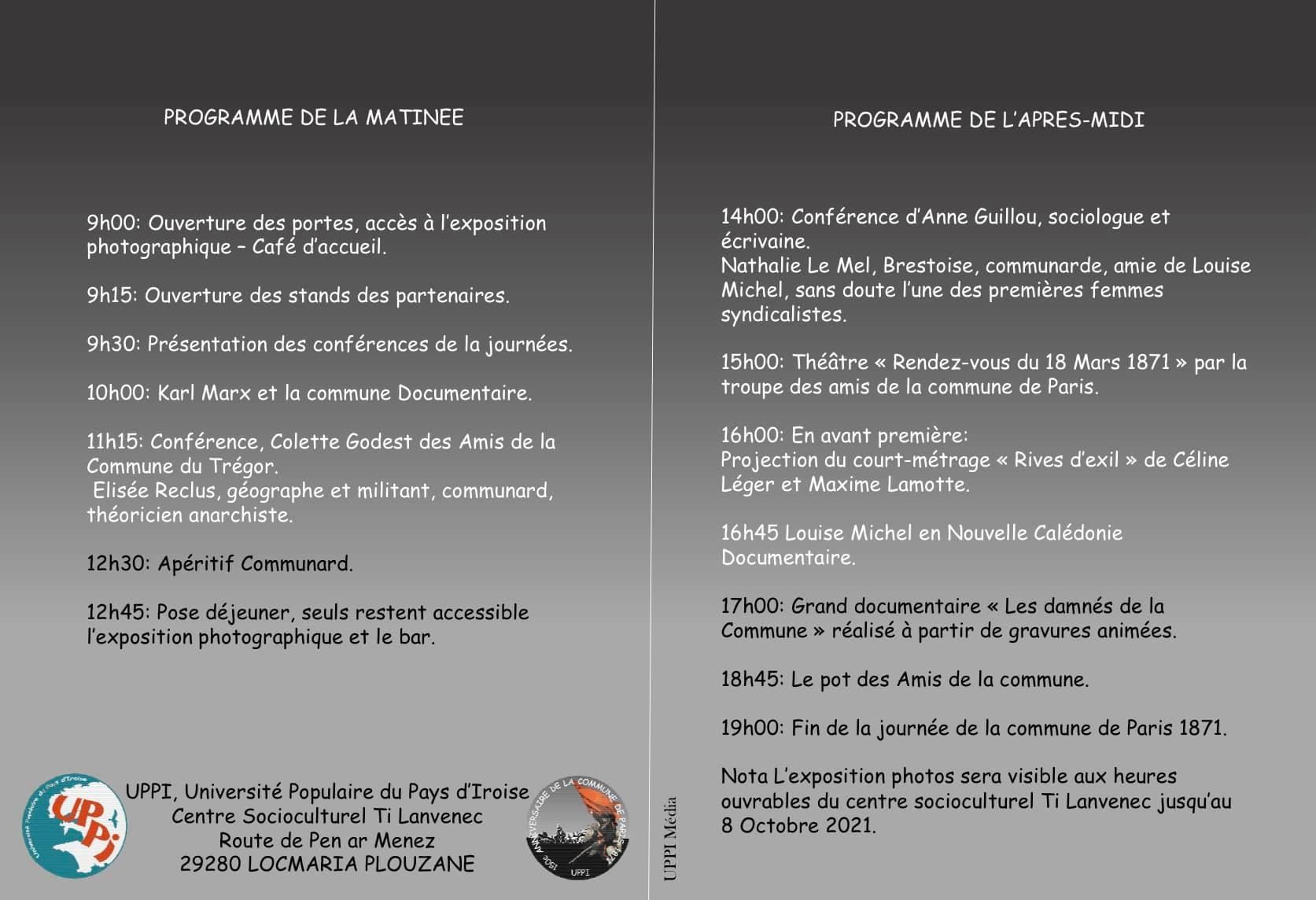 programme 150è anniversaire de la Commune de Paris 1871