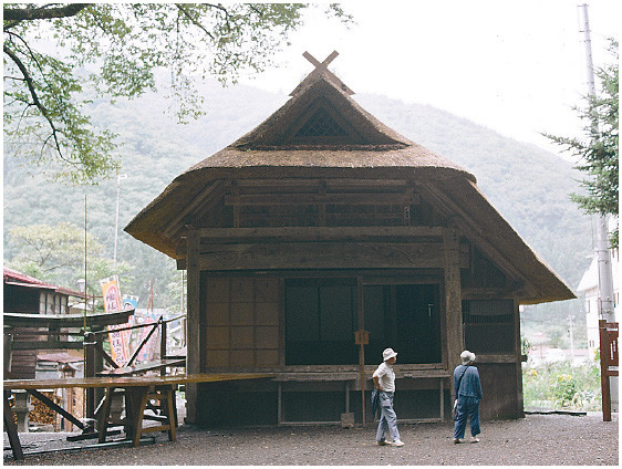 The Hinoemata Stage in Hinoemata Village, Fukushima Prefecture, which stands permanently in the grounds of the Koma-ga-dake Shrine. The stage front width is about three ken.