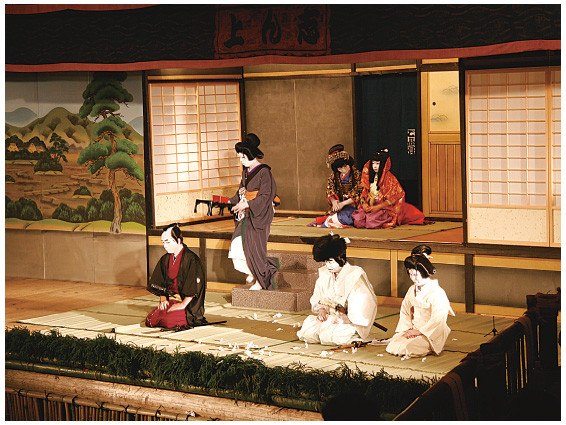 The Nishiwaka-za performing the Temple School Scene from Sugawara Denju Tenarai Kagami. The stage had been adjusted to accommodate a 180 cm fusuma. (2007)