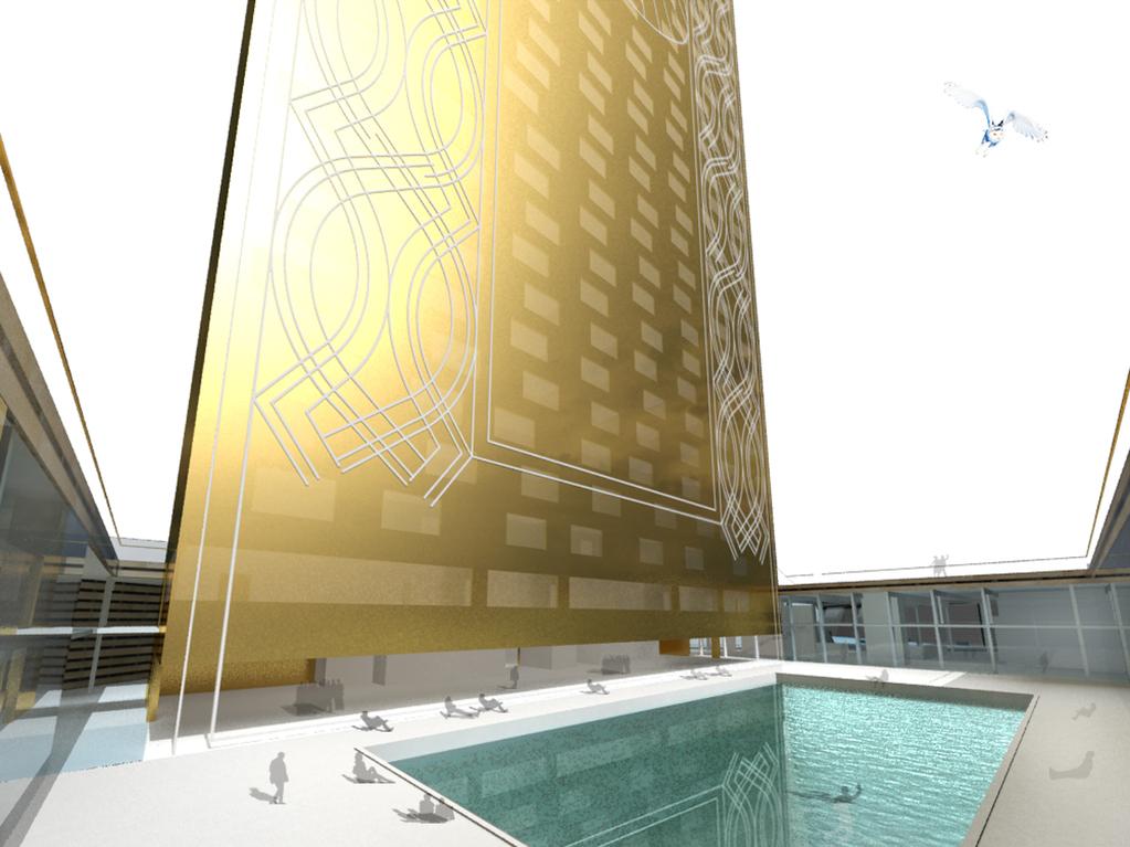 Vue du patio de la piscine de l'hôtel