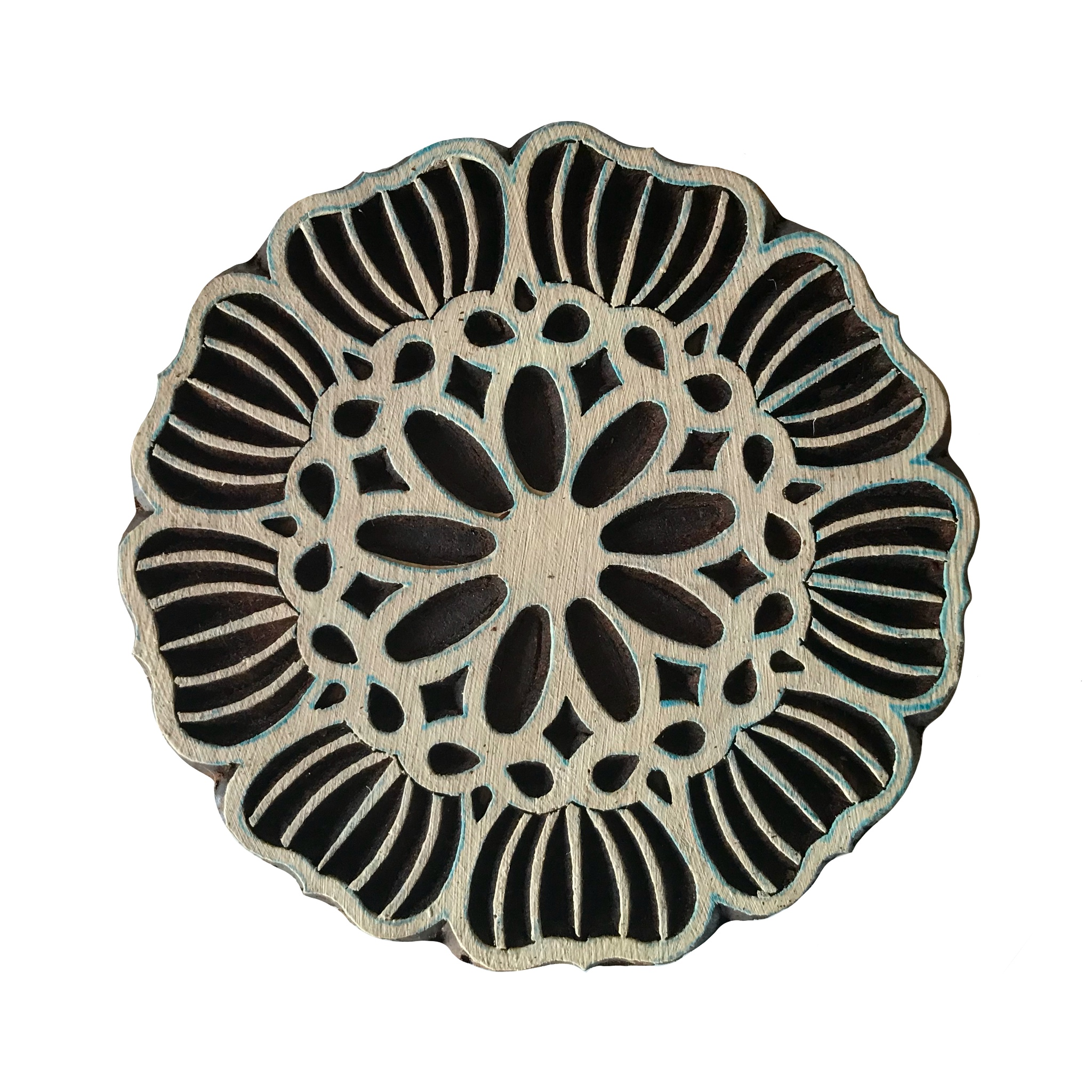 Block Print Stamp Fancy Flower M 176
