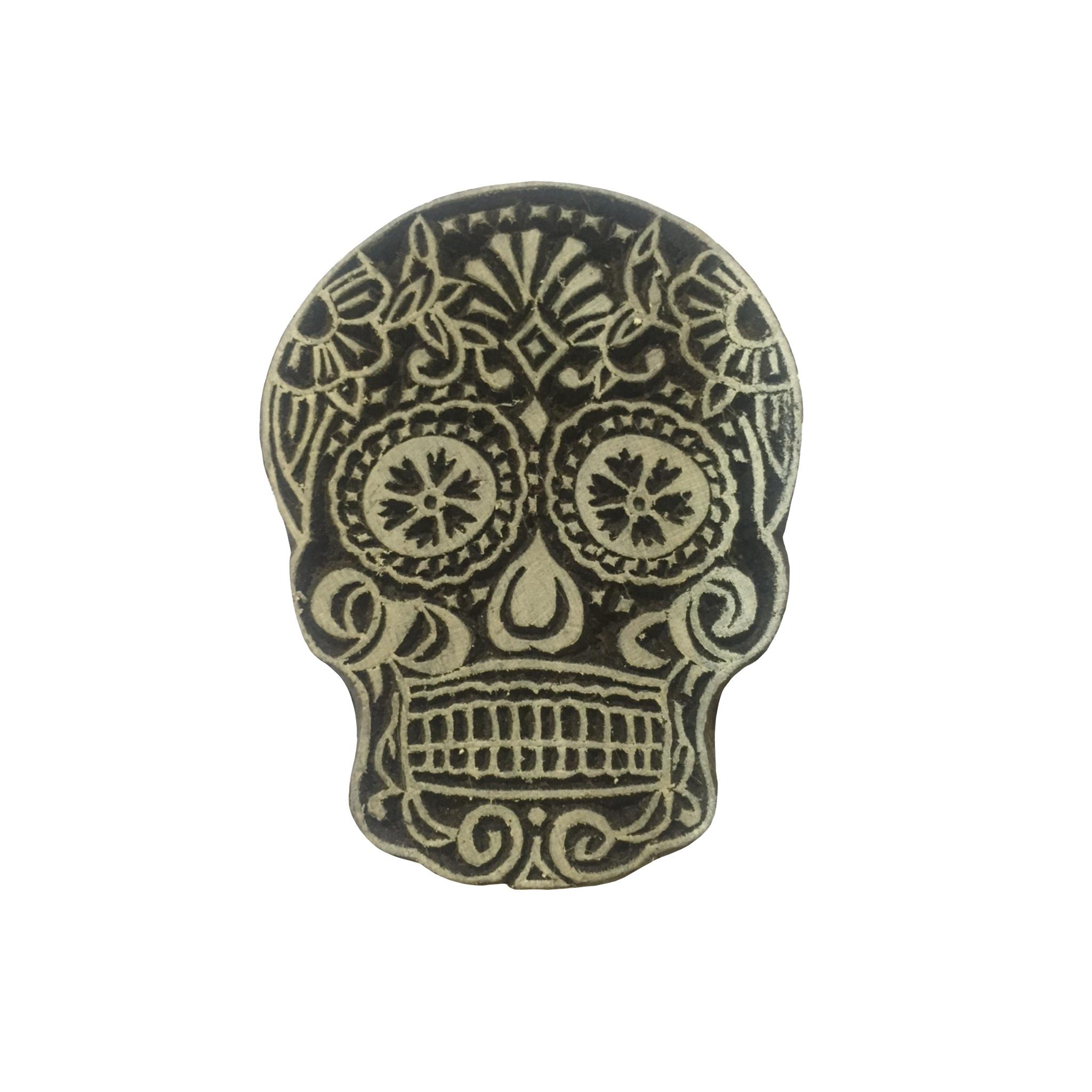 Block Print Stamp Skull  M 149