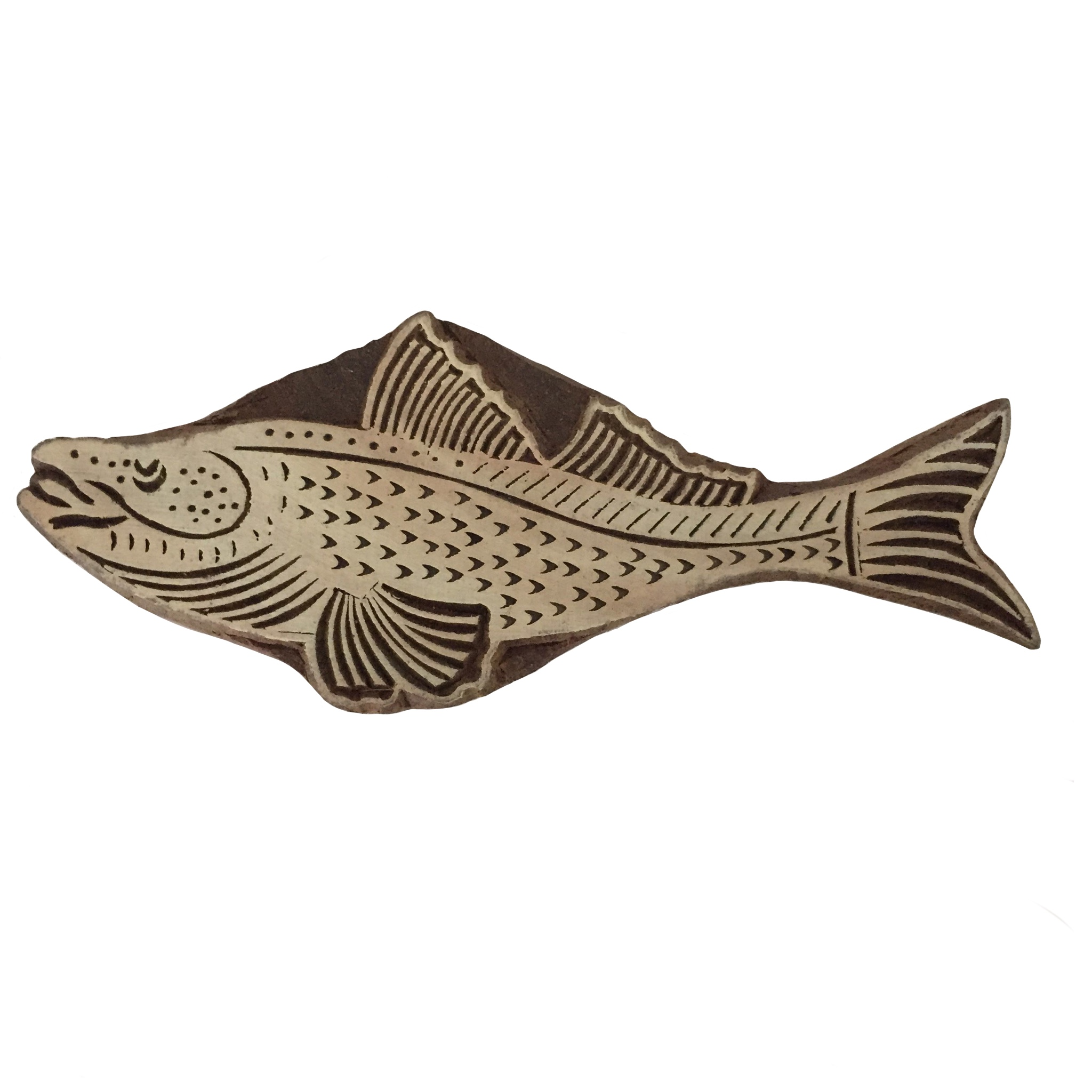 Block Print Stamp Fish M 42