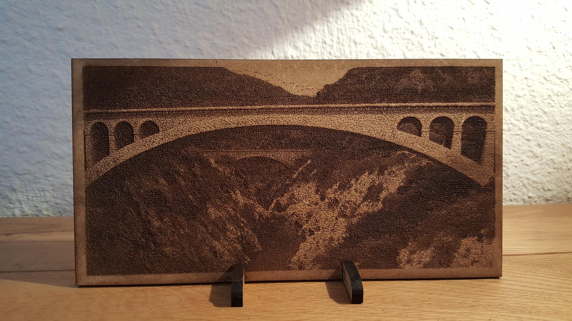 Gravure sur bois - Site du Pont du Diable, Hérault