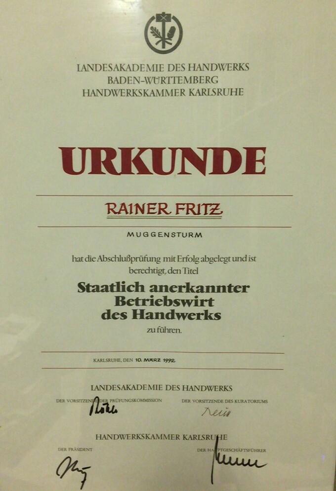 Rainer's Diplom zum Betriebswirt
