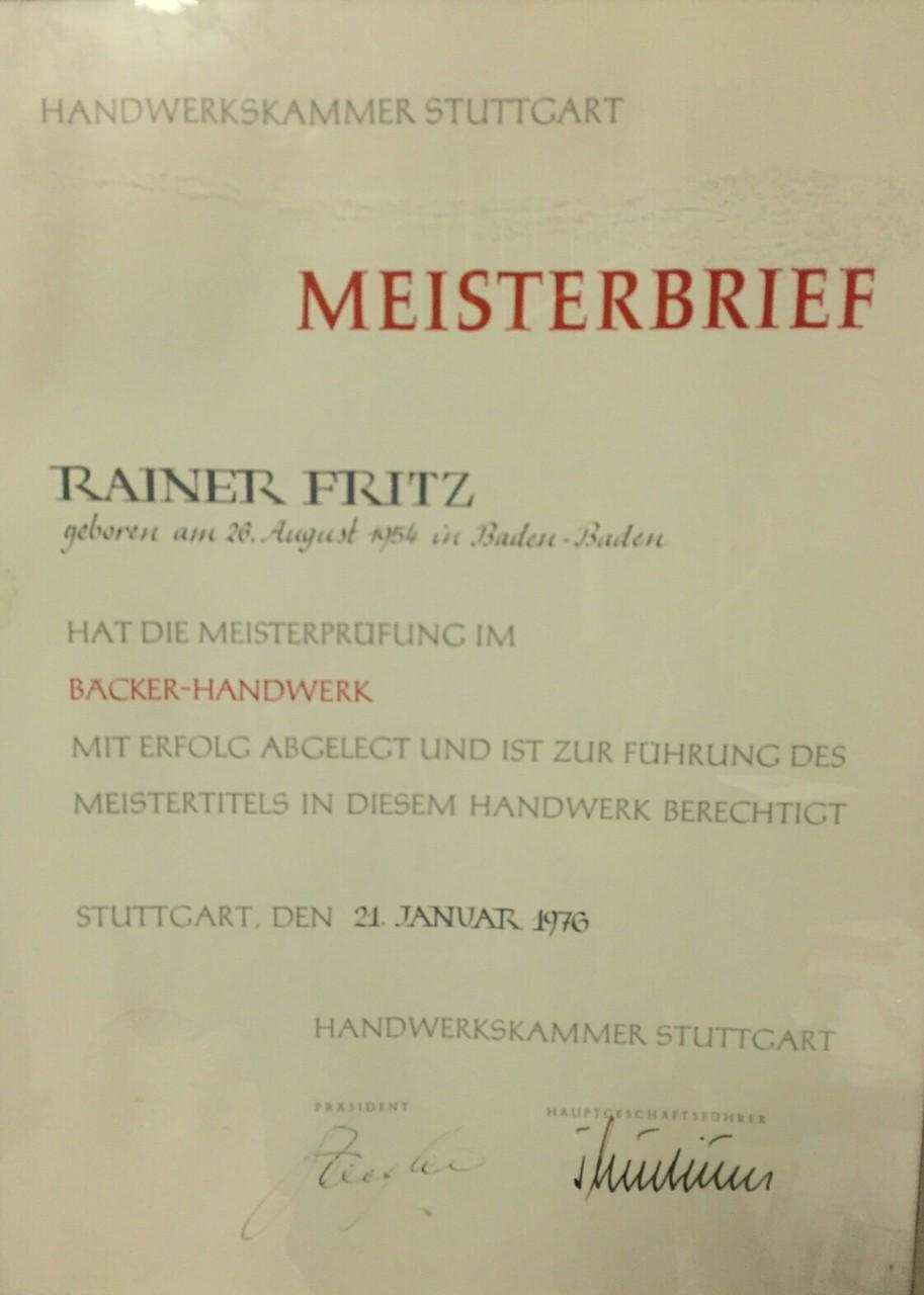Rainer's Meisterbrief
