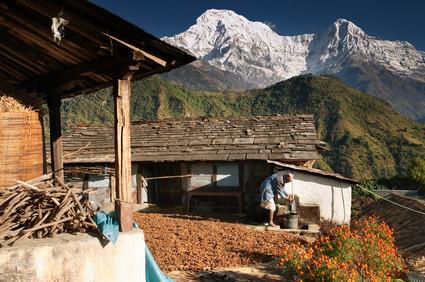 Dorf im Himalaya Gebirge