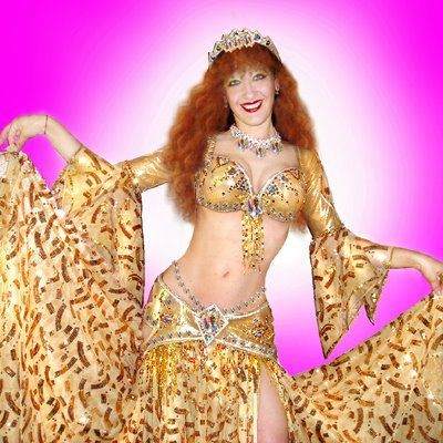 Ameynra belly dance fashion. Gold star line. Sofia Metal Queen - designer, model.