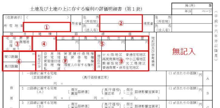 評価明細書(第1表)