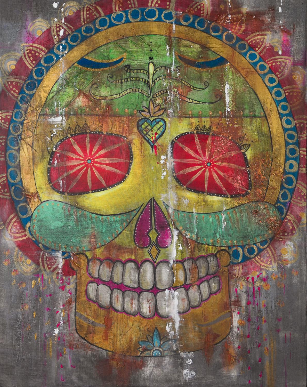 "OM 011 Originalgemälde - ""Hippie Skull"" Acryl auf Leinwand 90x115cm"