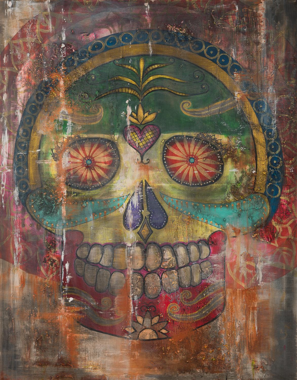 "OM 012 Originalgemälde - ""Skull Mandala"" Acryl auf Leinwand 90x115cm"