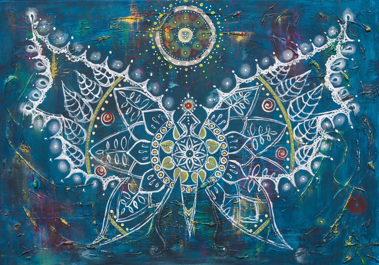 "OM 014 Originalgemälde - ""Butterfly"" Acryl auf Leinwand 70x100cm"