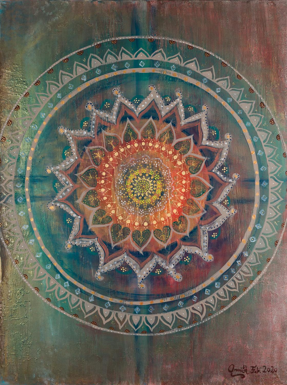 "OM 021 Originalgemälde - ""# 1 Mandala"" Acryl auf Leinwand 90x120cm"