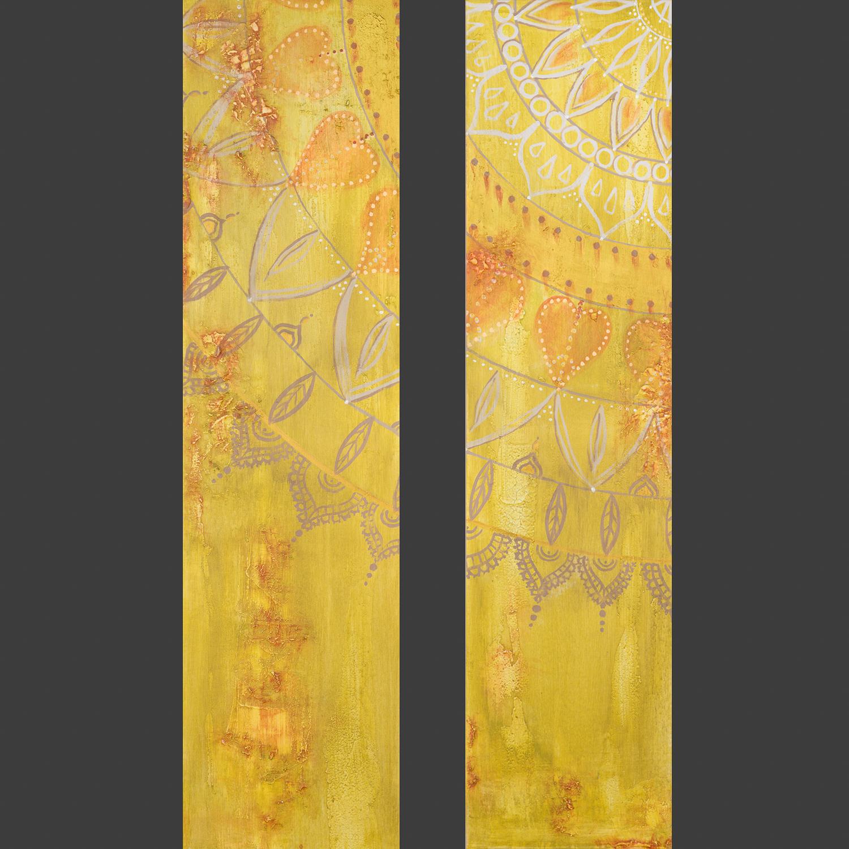 "OM 027 + 028 Originalgemälde - ""Soulmates"" Acryl auf Leinwand 30x120cm"